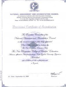 NAAC CERTIFICATION THE NEW PROGRESSIVE COLLEGE OF TEACHERS EDUCATION MEHSANA GUJARAT INDIA